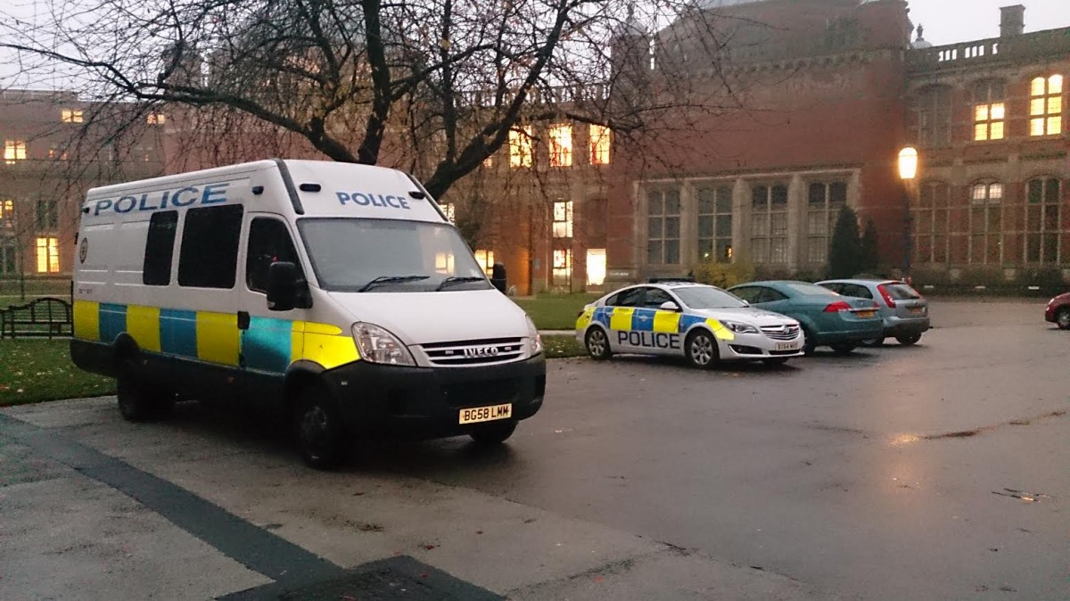 Police vans outside the Aston Webb building.