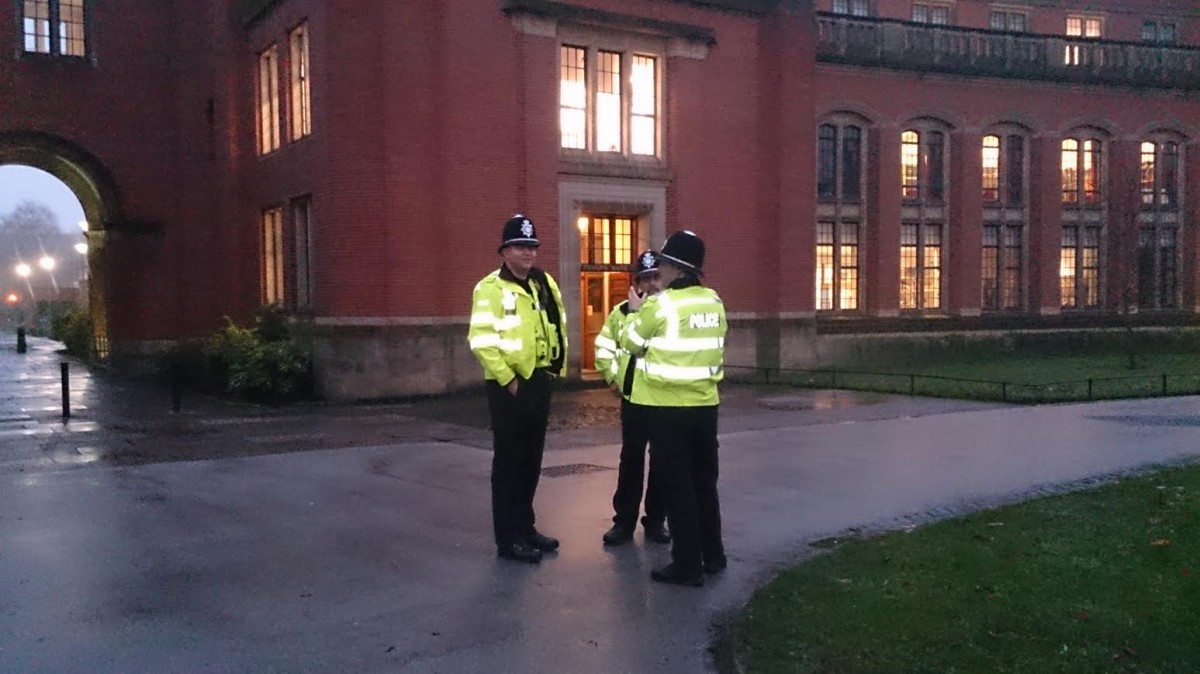 Police remain on campus after the occupation ends.
