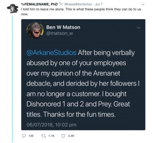 Arkane Studios narrative designer Hazel Monforton targeted by harassers in the wake of the ArenaNet controversy.