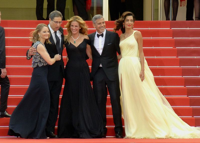Jodie Foster, Julia Roberts, George Clooney, Amal Clooney at the world premiere of Money Monster, 2016 Cannes Film Festival