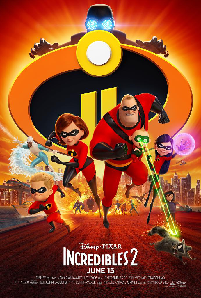 Incredibles 2 logo with Mr Incredible, Elastagirl, Violet, Dash, Frozone, and the Screen Slaver