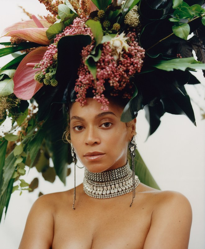 Beyoncé Knowles-Carter Vogue cover September edition with flowery headdress and necklace