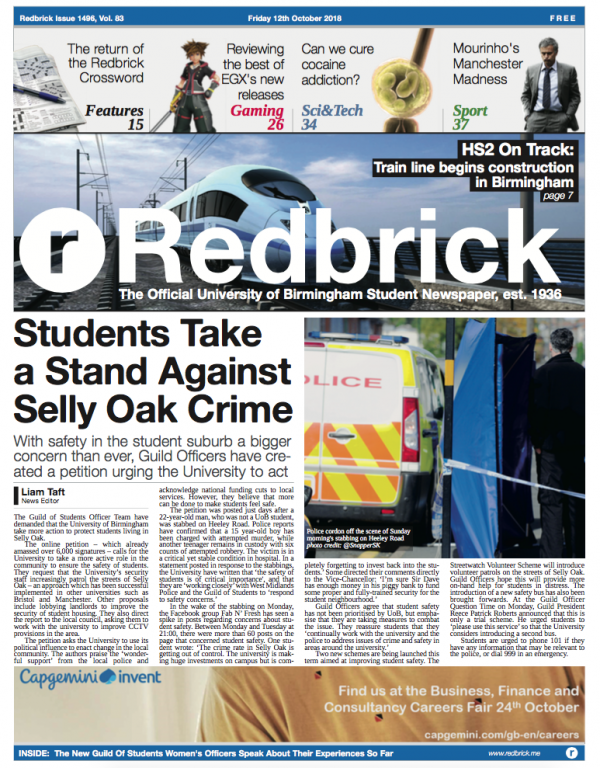 Redbrick print issue, front page