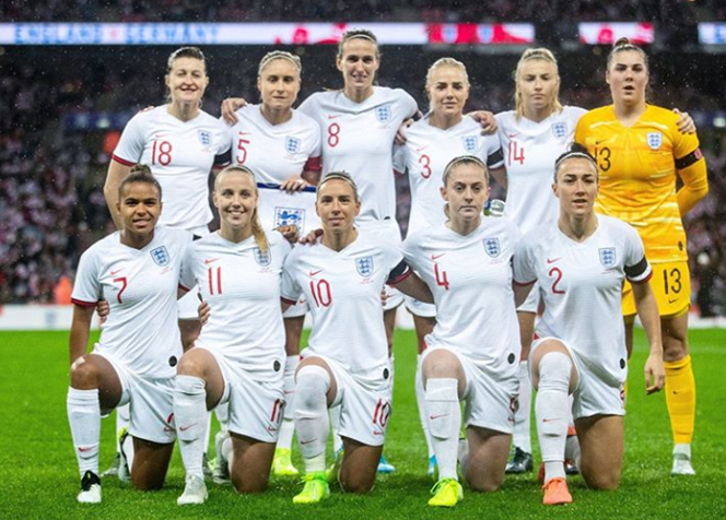 England Women's Football Team posing at Wembley for their match against Wembley