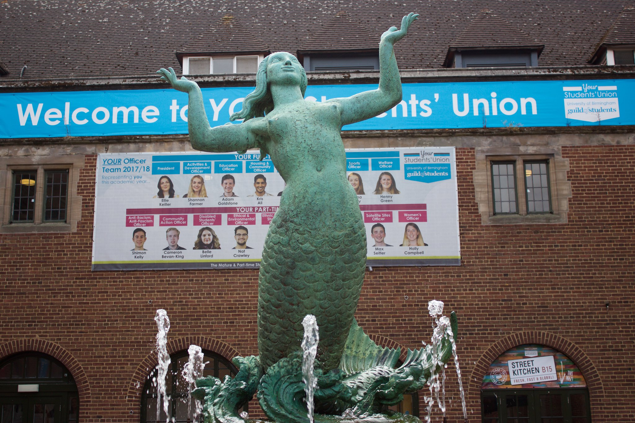 The mermaid fountain outside the Guild of Students building