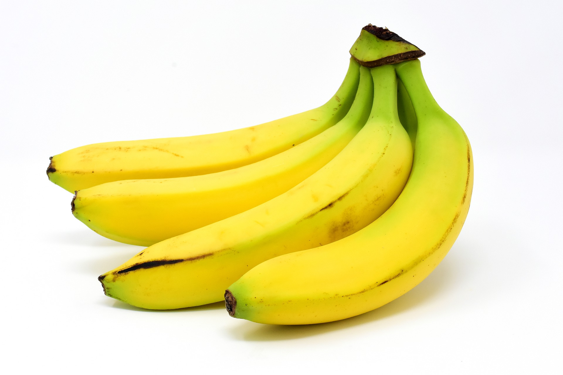 bananas sat on white background