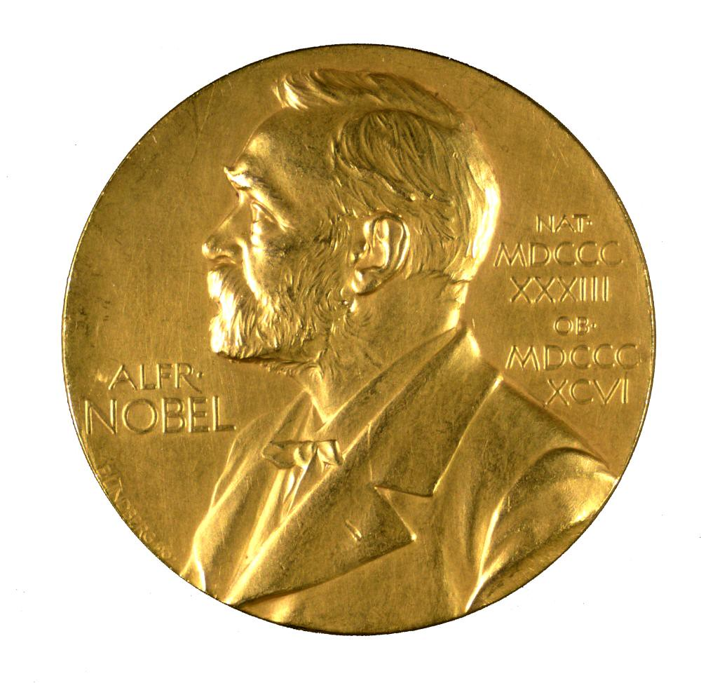 nobel prize coin, gold with white background