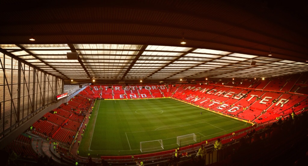 Old Trafford, the home of Manchester United, from the East Stand