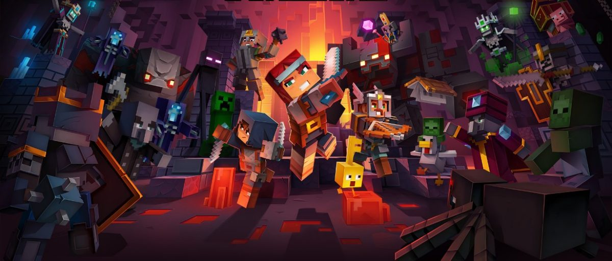The cover of the Minecraft Dungeons game