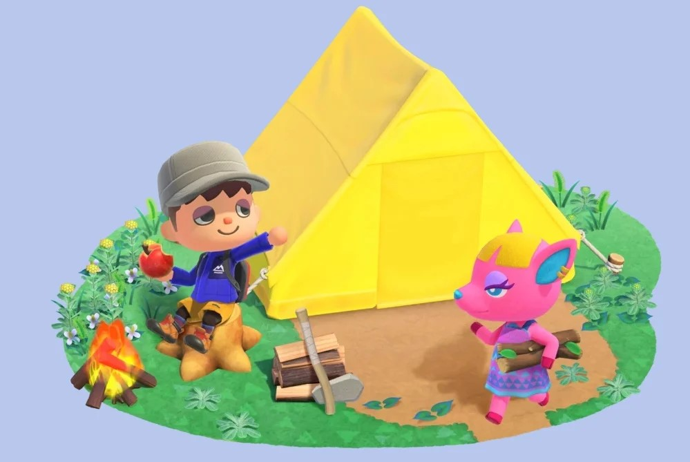 Animal Crossing villager, with tent and Fuchsia